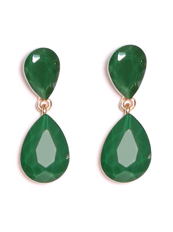 813a766d6ac8 Pendientes largos de doble lágrima tallada verde