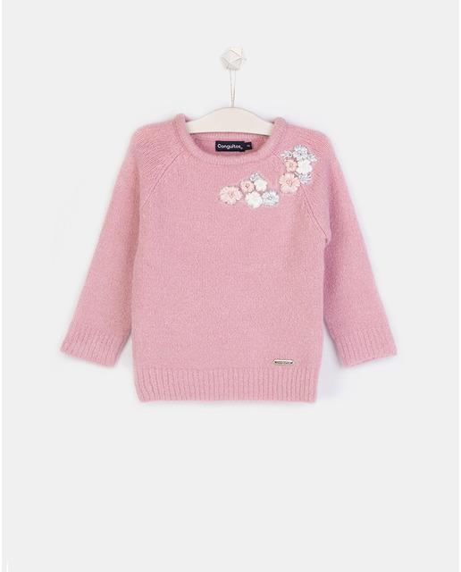 Jersey de niña rosa con flores bordadas