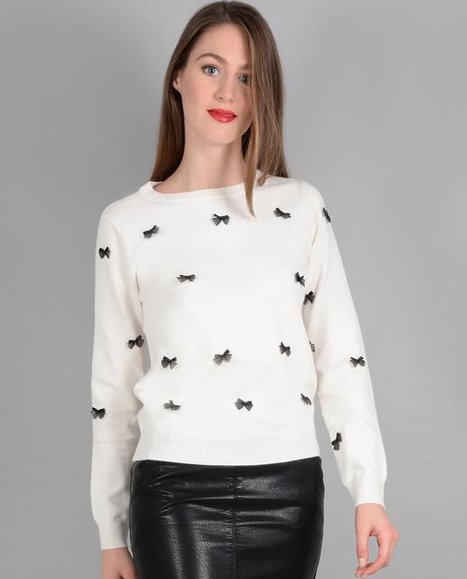 Jersey de mujer en color crema con detalle pajaritas 615821eec2e3