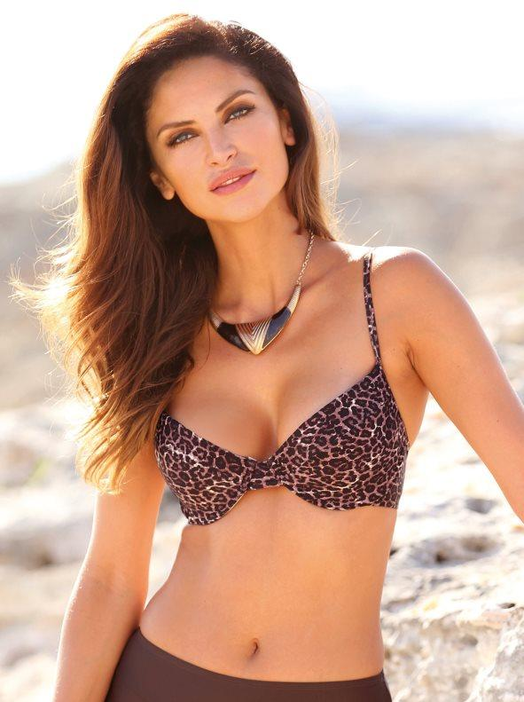 51954a969a27 Sujetador de bikini animal print copas con aros estampado marrón 05b