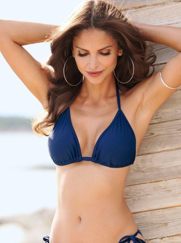 c4581a95b244 Sujetador de bikini liso tipo cortina anudado por lazos marino 40