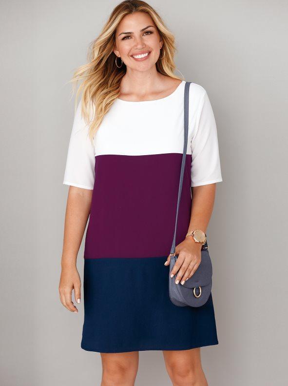 fbc3cedde Vestido tricolor forrado tallas grandes multicolor crudo violeta marino 50.  Bellísima