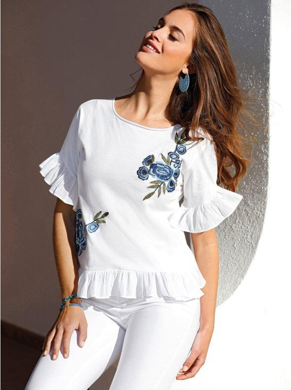 554a8b55fff Camiseta bimateria bordada con volantes blanco 3xl. Venca