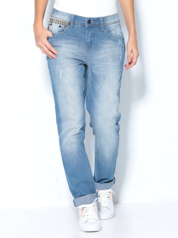 Pantalón vaquero jeans mujer con tachuelas y detalles rotos azul 36 15aeea3cf124