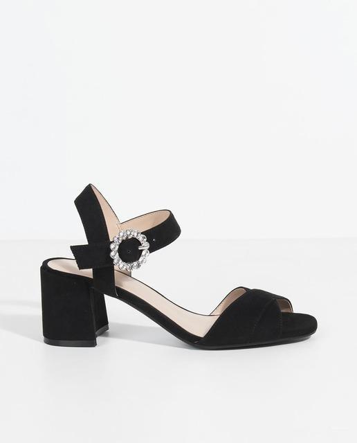 Sandalias En Negro De Tacón Con Mujer Hebilla Brillante dxroCBe