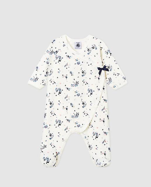 cab28a99d Pijama de bebé niña en blanco con bandana