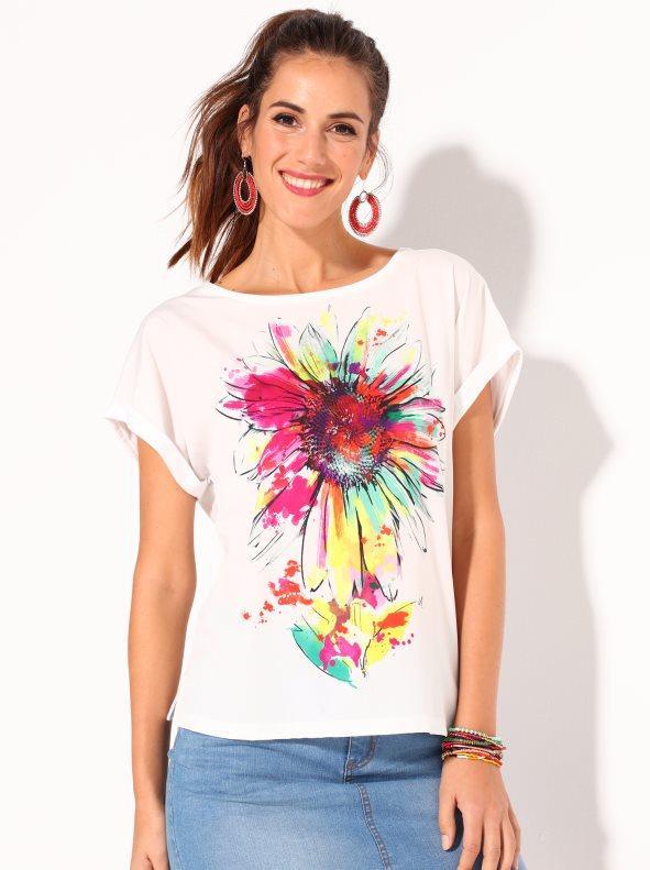 387c33d208a Camiseta bimateria estampado digital blanco m. Venca