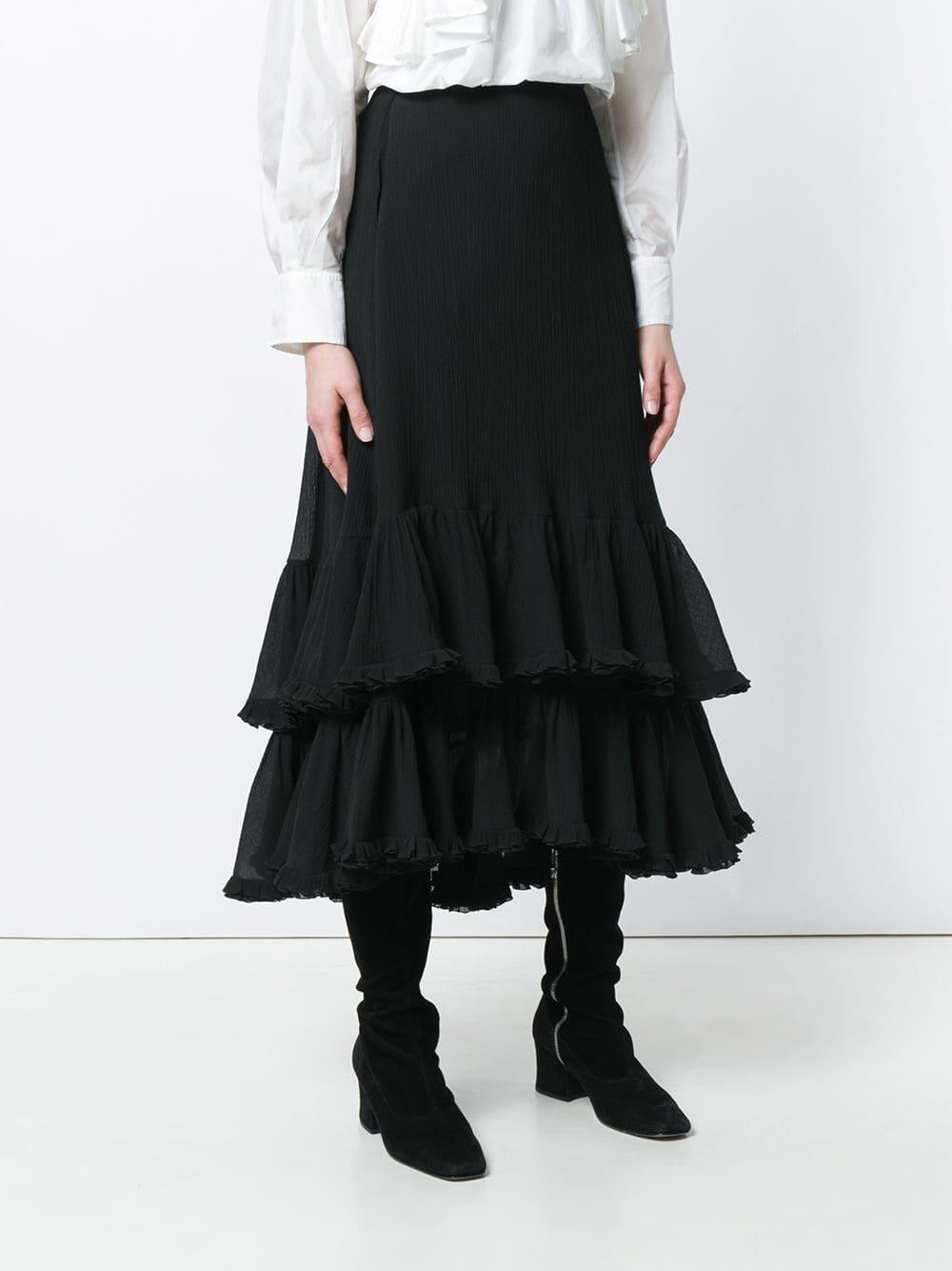 Acampanada Falda Negro Capas Escalonadas En 40HxqnwdHa