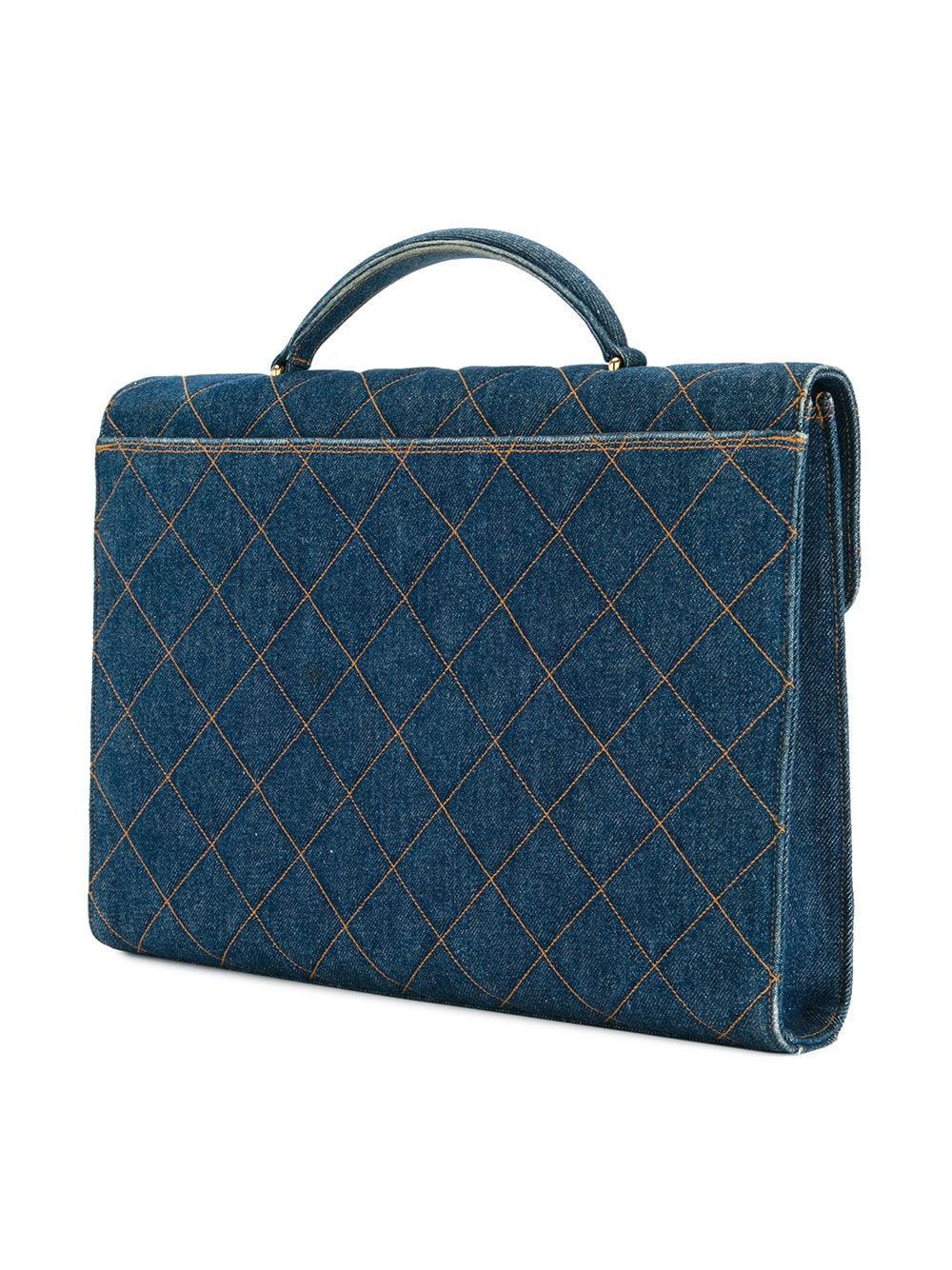 brillo de color productos de calidad gama muy codiciada de Vintage maletín vaquero acolchado - azul