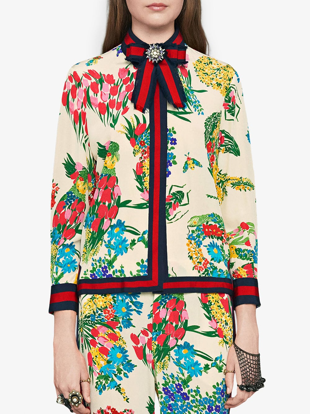 Camisa con estampado de ramilletes - multicolor 501ab938127
