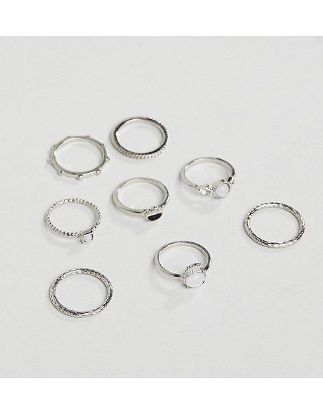 d602943d65f8 Pack de 8 anillos con piedra de luna sintética y detalle grabado en  plateado design curve