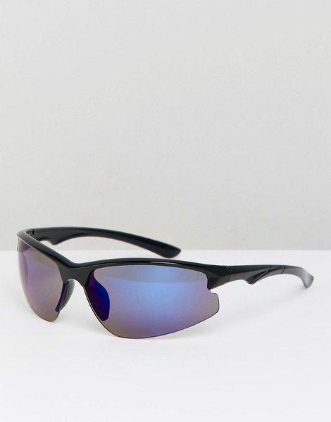 6d252eb197 Gafas de sol estilo visera con lentes de espejo en negro y azul design