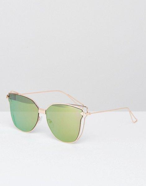 0186741616 Gafas de sol ojos de gato con lentes planas en dorado rosa