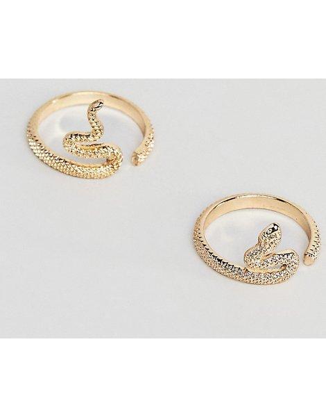 ffac96e11d89 Pack de 2 anillos con diseño de serpiente con abertura en dorado design  curve