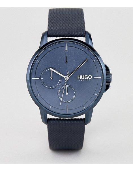99ac8727cc91 Reloj con correa de cuero azul con esfera azul 1530033 focus de hugo