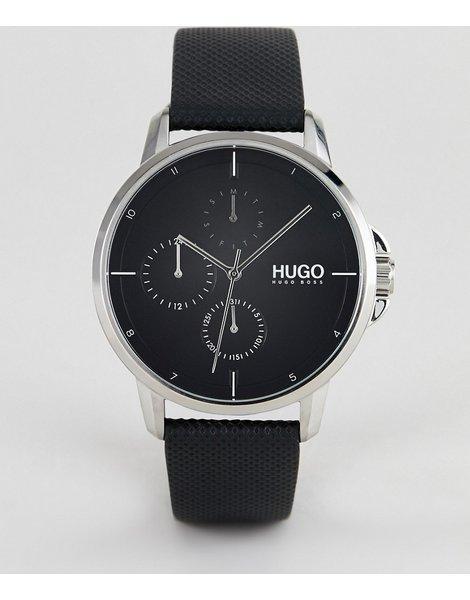 c916364aadda Reloj con correa de cuero y esfera en negro focus de hugo 1530022
