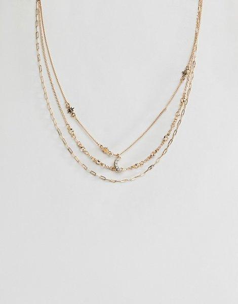 098b98a60001 Pack de 3 collares con bisutería de luna y estrella en dorado design