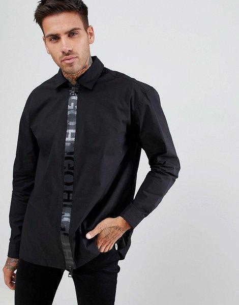 Camisa negra de corte estándar en popelina con acabado elástico 04720b778006d