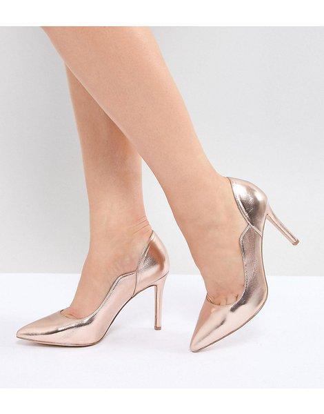 b1fd9f0d Zapatos de tacón en punta en dorad rosa cassandra wide fit