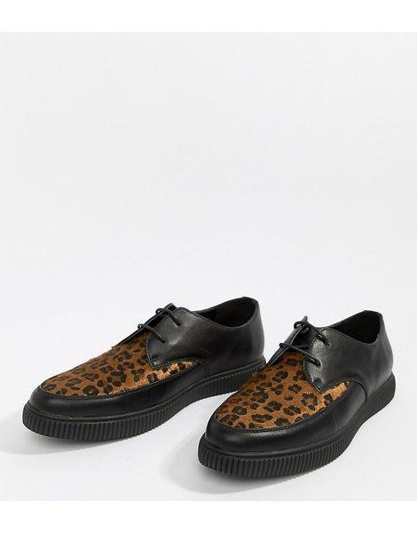 Cordones De Negro Zapatos Sintético Panel Cuero Con Leopardo LSUVpMqzG