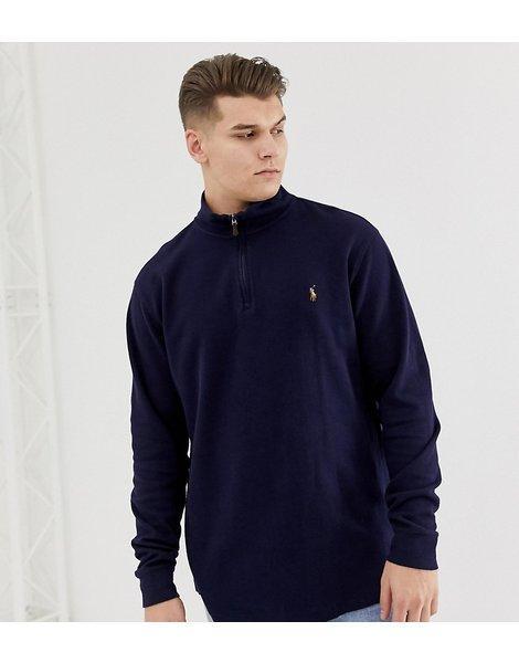 d9cc705d891 Jersey de punto de algodón con media cremallera y logo de jugador  multicolor en azul marino big   tall