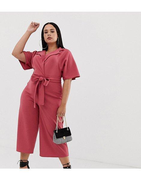 5a1a30c1be8a Mono largo estilo falda pantalón de sastre en rosado oscuro con...
