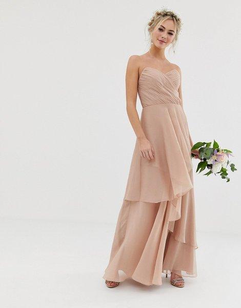 bd84930a3 Vestido largo de dama de honor con diseño palabra de honor y falda...
