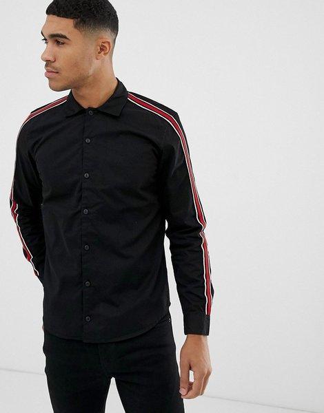venta caliente real hermoso estilo rebajas(mk) Camisa negra de corte estándar con franjas laterales de ...