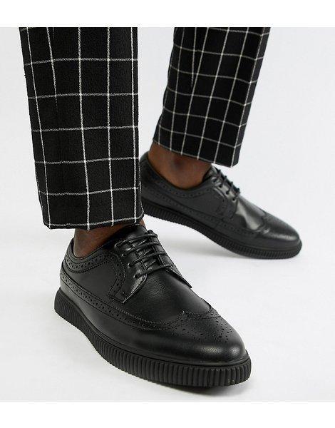 Zapatos Monk de corte ancho en cuero sintético negro con