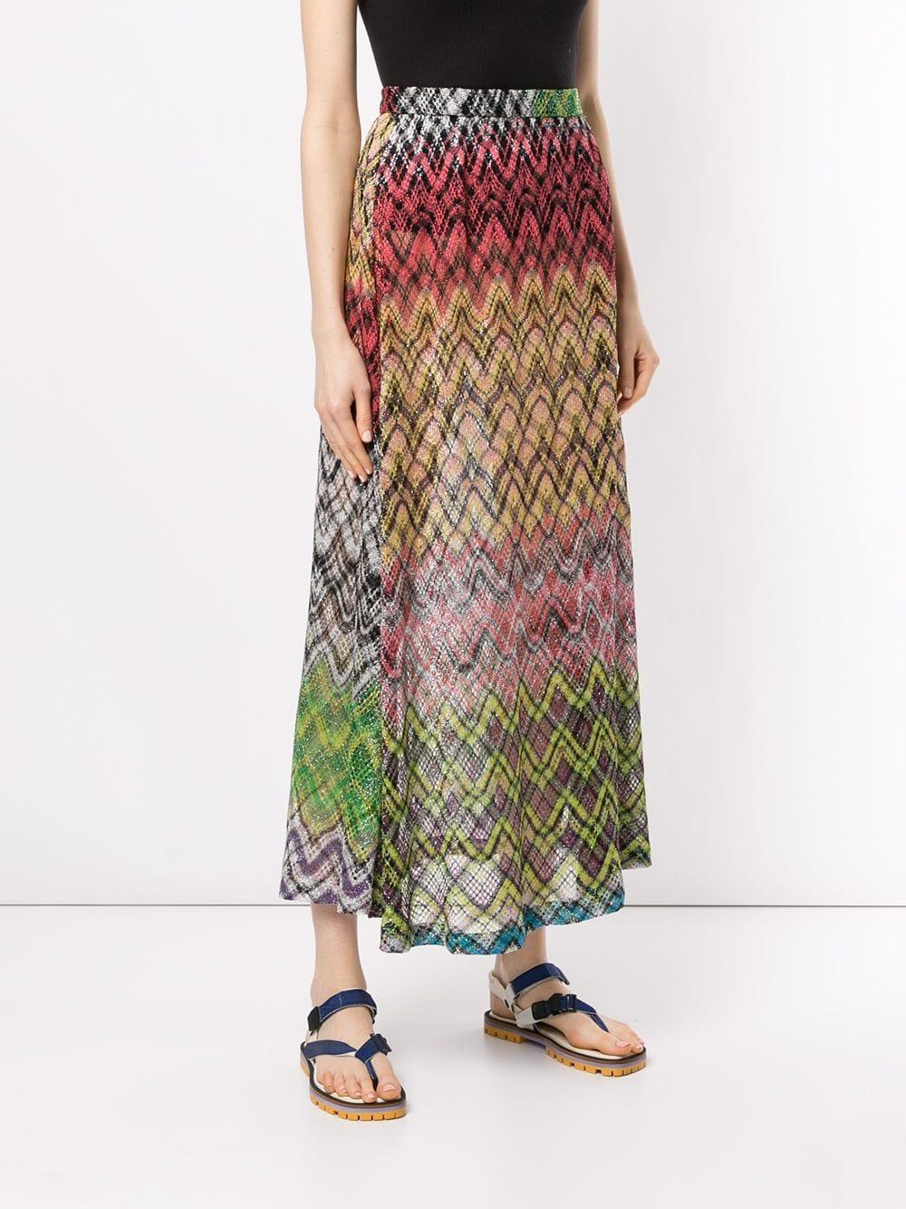 6a89c0e2e9 Falda larga con motivo zigzag - multicolor