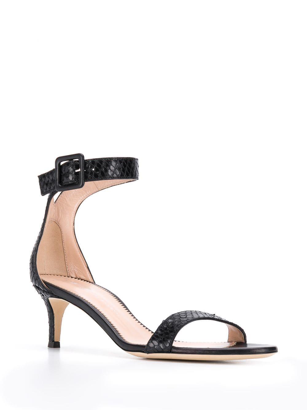 Sandalias Negro Con Tacón Piel Serpiente Motivo De Y sCtrhQxd
