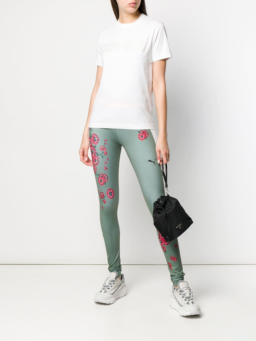 Puma Leggings Colour Block En Rosa Y Verde Con Cinturilla