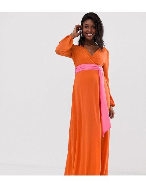 Vestido Largo Naranja Cruzado Con Cinturilla En Contraste