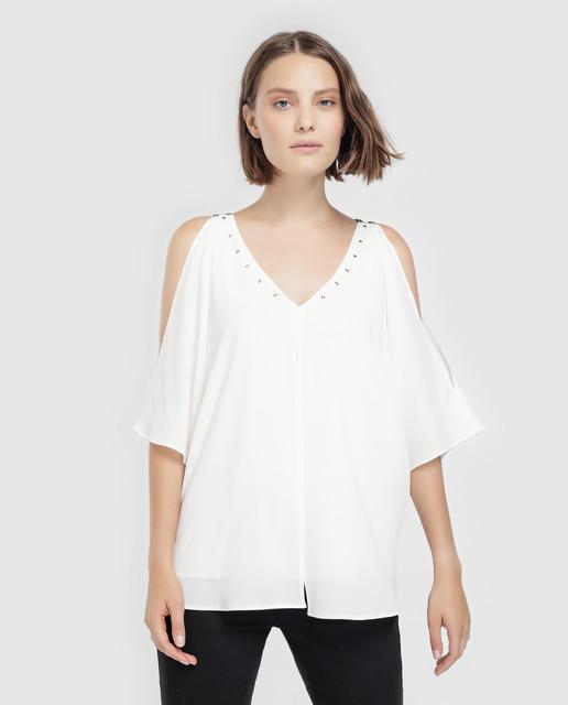 c6c7e4b4f Blusa de mujer con manga abierta y escote en pico