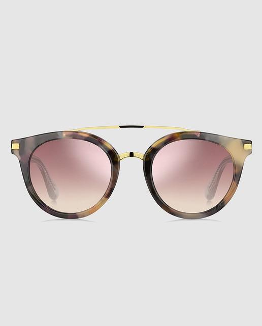 2e1eba7bcf8 Gafas de sol de mujer de acetato habana con doble puente y lentes espejadas