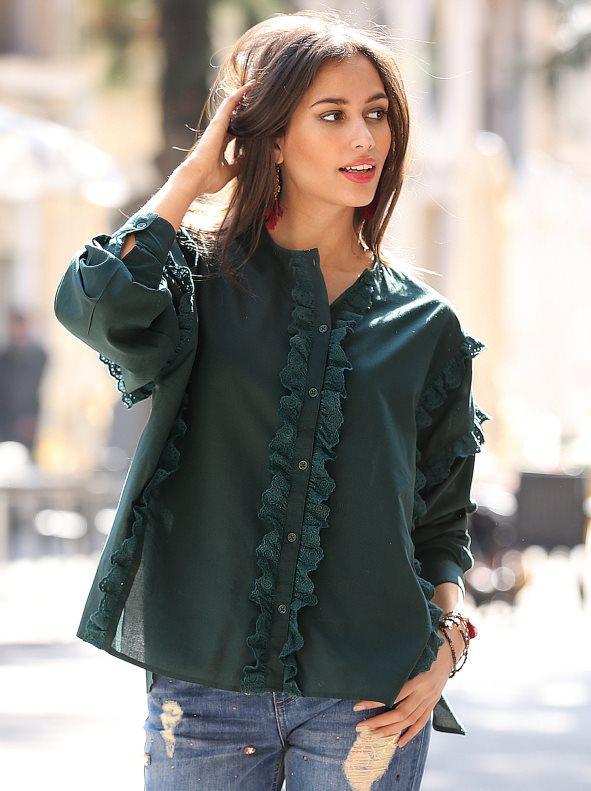 ffbe391fc Camisa manga larga con volantes de mujer verde botella l