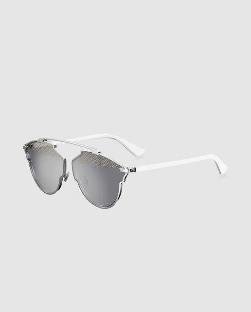 Gafas de sol de mujer dior con montura metálica plateada y varillas blancas e0d2ae6945cc