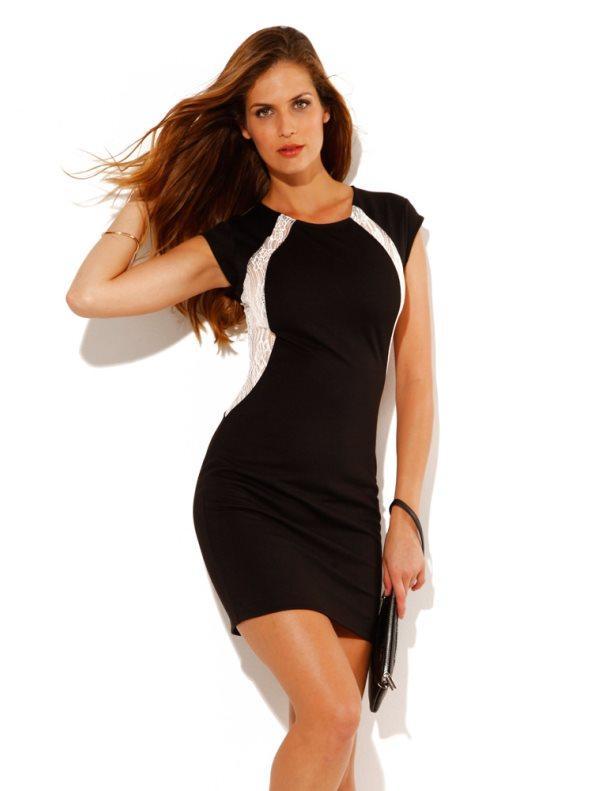 042c31fba Vestido de fiesta mujer sin mangas encaje y punto negro con puntilla m