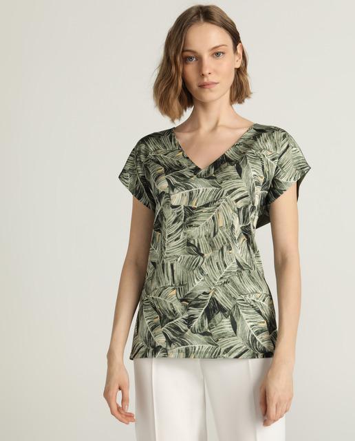 38a693ec Camiseta de mujer con estampado de hojas y escote en pico