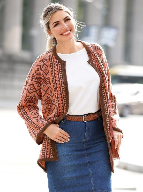 0623ddaaac7 Chaqueta tricot jacquard tallas grandes marrón multicolor l