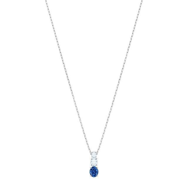 dfe7ef236af9 Colgante attract trilogy round con baño de rodio y cristal azul