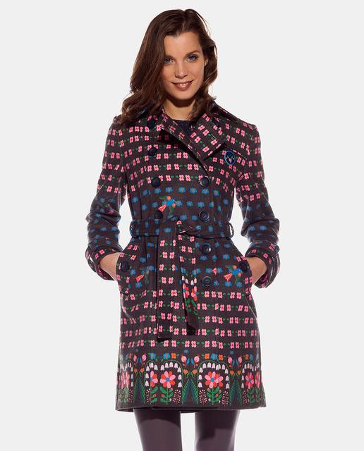 841434b0bfb Gabardina de mujer de flores con cinturón