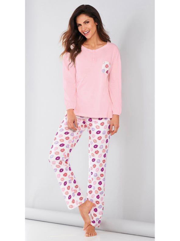 6369531c5b7 Pijama camiseta y pantalón estampado de labios rosa m