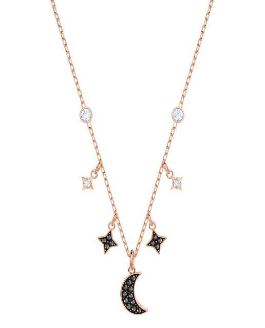 1892028e9f39 Collar duo moon con baño de oro rosa y cristales negros