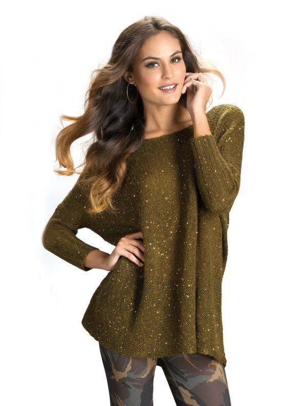 1ed795eaa2c Jersey mujer manga 3/4 tricot con lentejuelas caqui l