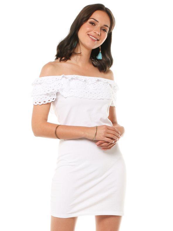 Vestido blanco bordado suizo