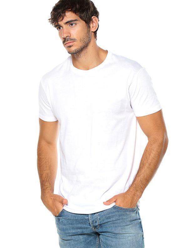 16878974 Camiseta de hombre doble pespunte en el cuello blanco l