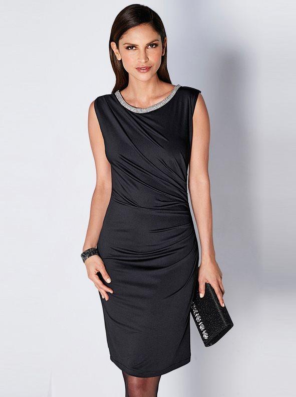 0ffeb0f41e57 Vestido fiesta sin mangas con pedrería fantasía negro 38