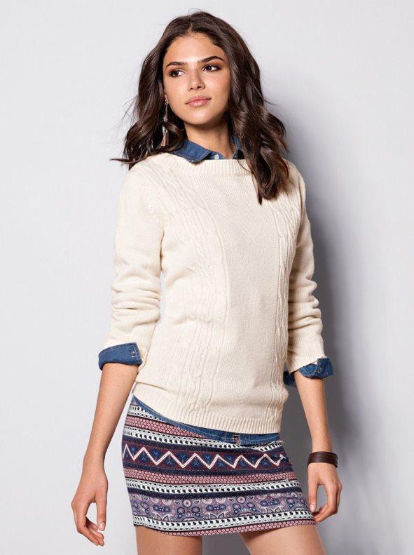 341dd7643e6 Jersey mujer manga larga tricot trenzas marfil/crudo xxl