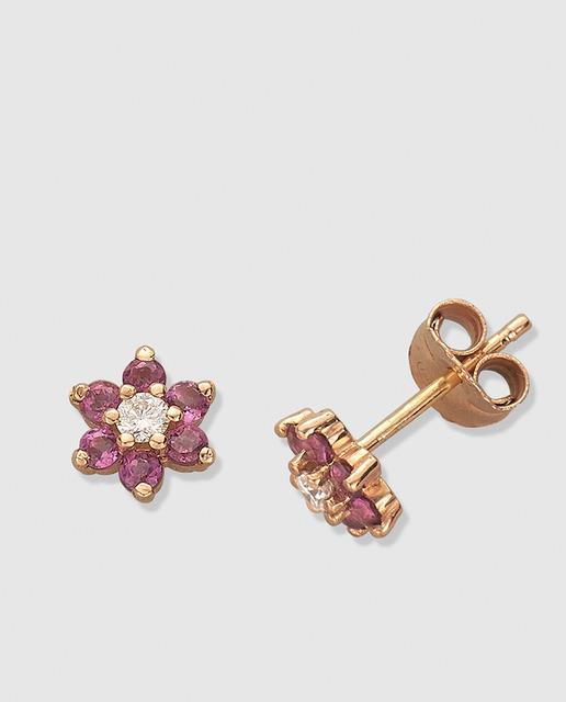 f231aa8f2950 Pendientes floral de oro rosa con brillantes y rodolita